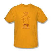 E.T T-shirt Extra-Terrestrial classic retro 1980's movie gold cotton tee UNI501 image 1
