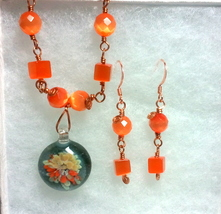 Copper Wire Wrapped Orange Fiber Optics and Floral Glass Necklace Set image 3