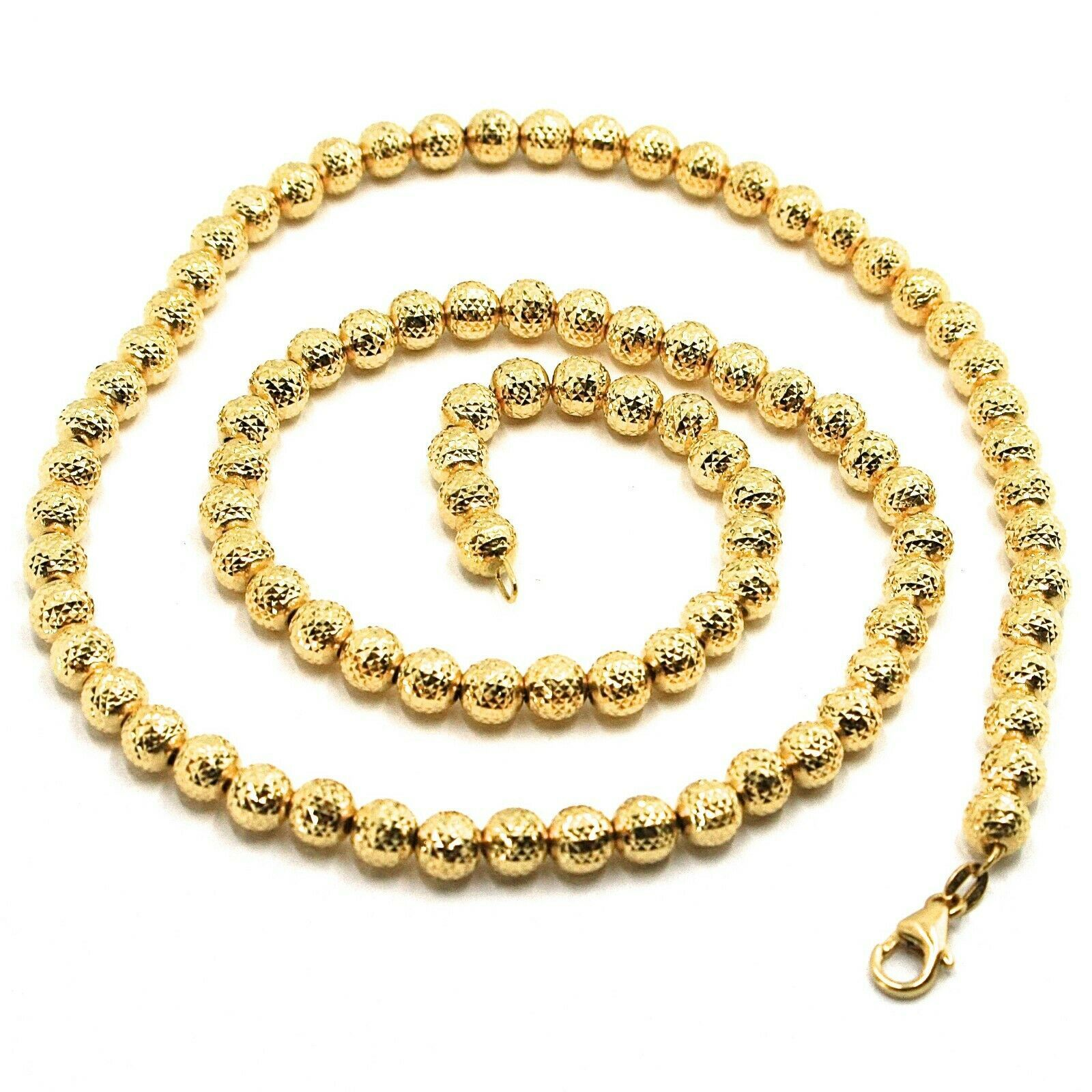 "18K YELLOW GOLD CHAIN FINELY WORKED SPHERES 5 MM DIAMOND CUT, FACETED, 18"" 45 CM"