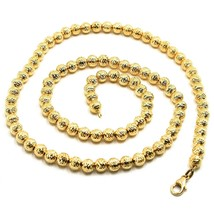 "18K YELLOW GOLD CHAIN FINELY WORKED SPHERES 5 MM DIAMOND CUT, FACETED, 18"" 45 CM image 1"