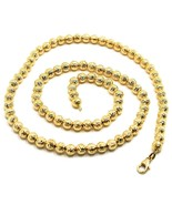 18K YELLOW GOLD CHAIN FINELY WORKED SPHERES 5 MM DIAMOND CUT, FACETED, 1... - $1,018.00