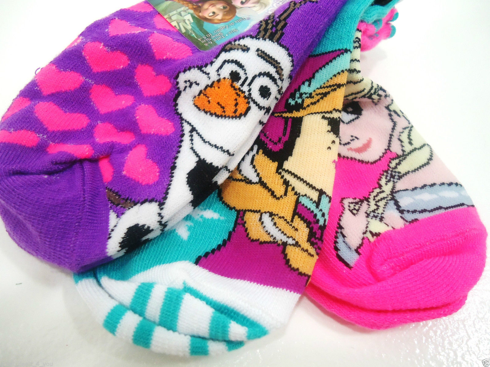 DISNEY - FROZEN - GIRL'S - (3) PACK - SOCKS - PURPLE - PINK - AQUA - BRAND NEW image 2