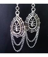 Silver Gothic Earrings Spider Earrings Spiders Web Dangling Halloween Earrings C - $25.99