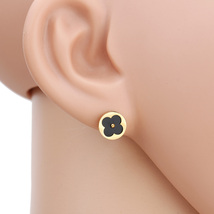 UE-Stylish Gold Tone Post Earrings With Cut Out Clover & Black Faux Onyx Inlay - $13.99