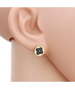 UE-Petite Gold Tone Post Earrings With Cut Out Clover & Black Faux Onyx ... - $12.99