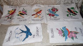 VINTAGE LIQUID HANDPAINTED WASHABLE TEA TOWELS DAYS OF THE WEEK BIRDS DE... - $34.60