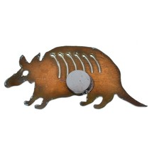 Country Western Rusted Patina Iron Metal Cutout Armadillo Refrigerator Magnet image 2