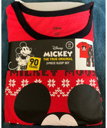 Mickey Mouse Men's Pajama Set Size XL Christmas 2pc Short Sleeve Holiday... - $28.70