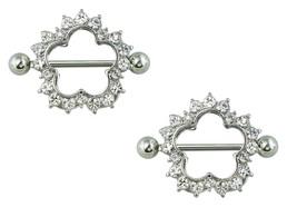 Nipple Ring CZ Embedded Clover Flower 316L Stainless Steel Nipple Shield... - $7.99
