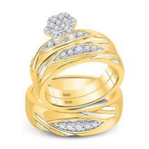 14k Two-tone Gold His Her Round Diamond Cluster Matching Bridal Wedding Ring Set - $1,159.00