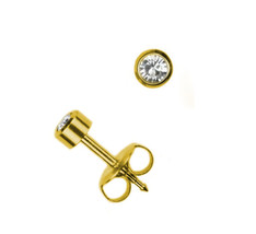 4mm Set of 3 Pairs 24k Surgical Stainless Steel Ear Piercing April Stud Earrings - $6.23