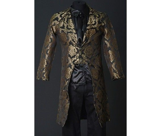 NWT Men's Black Gold Brocade Steampunk Victorian Goth Vampire Tailcoat Jacket