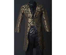 NWT Men's Black Gold Brocade Steampunk Victorian Goth Vampire Tailcoat Jacket - $149.99