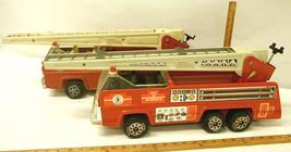 Pair Vintage Tonka USA Steel Fire Rescue Aerial Ladder Trucks Blazedale!... - $99.34