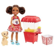 Barbie Chelsea Doll With Play Friend Puppy Dog Popcorn Stand Set Brunett... - $21.49