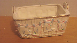 Vtg Inarco Porcelain Basket Nursery Planter Cloths Line-Baby On Diapers-... - $9.99