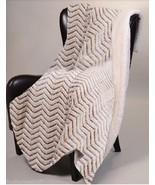 BEIGE CHEVRON ZIGZAG CUTWORK Sherpa Luxury Throw Light Weight Blanket 50... - $36.95
