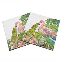 WallyE Flamingo Party Supplies 20 Pack White Paper Napkins - $9.23