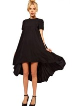 NEW Black Haoduoyi Short Sleeve High Low Swing Cocktail Dress Sz L (US 6) - $44.99
