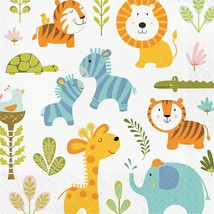 Happi Jungle Print 16 Ct Luncheon Napkins 1st Birthday Baby Shower - $5.03
