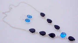 Faceted Iolite-Blue Topaz Stone Silver Overlay Handmade Jewelry Necklace - $8.70