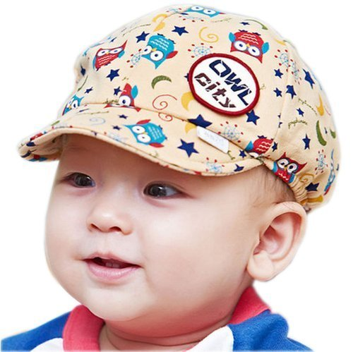 Baby Beret Toddler Sun Protection Hat Infant Floppy Cap BEIGE Owl 3-15M