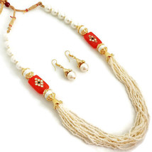 Indian Bollywood Gold Plated Oeange White Beads Kundan Necklace  Earrings Set - $13.65