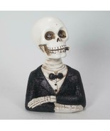 Light Up Skeleton Man & Woman Skull Figurine Set Tabletop Halloween Decor - $31.63