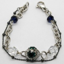 925 Sterling Silver Double Bracelet With Green Worked Lantern, Burnished Chain - $94.05