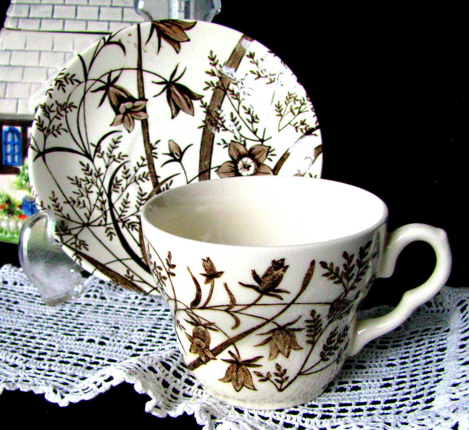 English Ironstone Tableware Staffordshire Brown Transferware Teacup \u0026 Saucer & English Ironstone Tableware Staffordshire and 50 similar items