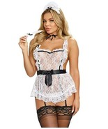 Dreamgirl WHITE Maid To Tease Babydoll Set, US One Size - $17.82