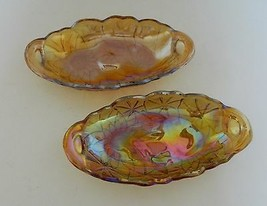 Indiana Glass Lily Pons Pickle Dish Iridescent Carnival Glass Closed Han... - $14.80