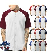 Mens Baseball Jersey Raglan T Shirt Team Uniform USA Solid Hipster Butto... - $24.69+
