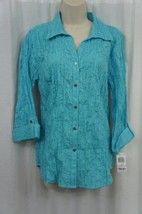 JM Collection Top Sz 6 Turquoise Pool Blue Button Front Embellished Casu... - $19.71