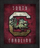 """South Carolina Gamecocks """"Retro College Logo Map"""" 13x16 Framed Print  - $39.95"""