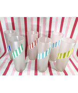 Vintage Libbey Candy Stick 6pc Frosted Barware Glasses, Zombie Tumblers - $38.00
