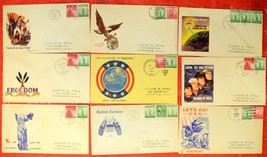 9 USA WWII WAR Patriotic Covers Envelope American Stamps Postage 1943 USED - $46.80