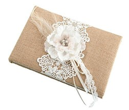 Lillian Rose Rustic Country Burlap Lace Wedding Guest Book - $21.15