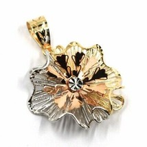18K YELLOW WHITE ROSE GOLD FLOWER ONDULATE FINELY WORKED RAYS PETALS 2cm PENDANT image 2