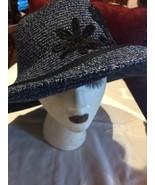 Vintage Style New Navy Blue Black Flower Woven Wide Brim Sun Hat - $47.67