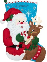"Bucilla Jumbo 28"" Santa and Reindeer Christmas Eve Felt Stocking Kit 86897E - $49.95"