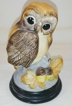 "Andrea by Sadek Ceramic Owl Figurine Acorn Leaves 4"" - $12.86"