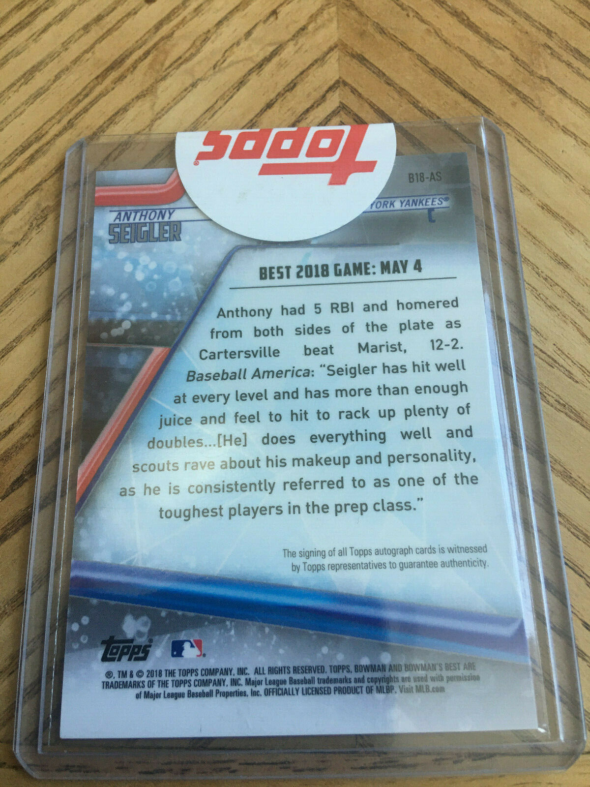 2018 Bowman's Best Anthony Seigler Auto Sealed image 2