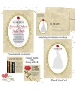 Beauty and the Beast Belle Baby Shower Invitation Set thank you diaper r... - $1.75+