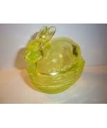 Mosser Glass Vaseline Yellow Easter Bunny Rabbit on Nest Basket Box Cand... - $28.08