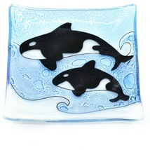 Fused Art Glass Sea Ocean Orca Killer Whale Square Soap Dish Handmade Ecuador