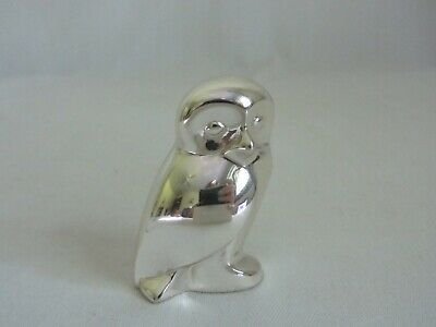 Christofle Silver Plate Vintage Owl Figurine Paperweight France Bird Figure