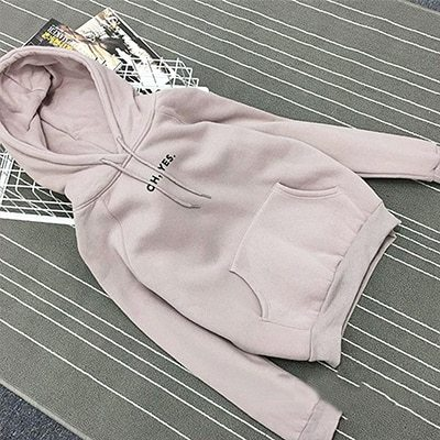 Autumn Simple Letter Printing Hoody Woman Pocket Slim Fit O-Neck Pullovers Women image 3