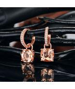 2Ct Cushion Cut Morganite Dangle-Droop Earrings Jewelry 14K Rose Gold Over - $89.99