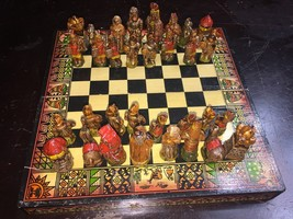 Unique Chess Box with board Arabian Pieces Indians Camels Small Rare His... - $650.23
